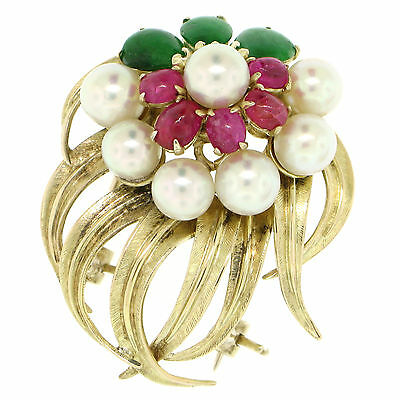 14K Yellow Gold 2.36ctw Cabochon Ruby Jade 5mm Pearl Textured Flower Brooch Pin