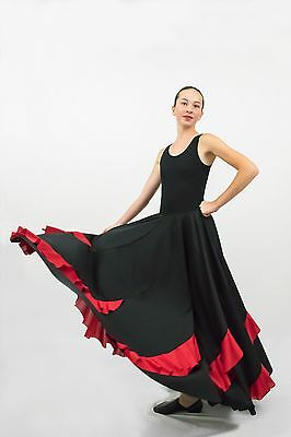 Black Flamenco 8-gore skirt with contrast red  flounces LARGE ADULT size