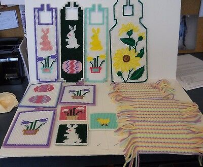 Plastic Canvas Easter Spring Completed Door Hangers Magnets Coasters Vintage