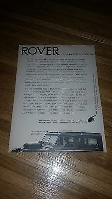 "1964 Land-Rover Vintage Magazine Ad ""Rover...Grand Sport Version!"""