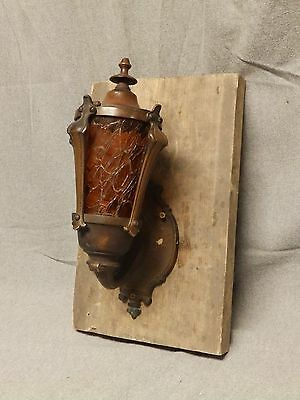 Antique Bronze Porch Sconce Light Fixture Amber Crackle Stained Glass Vtg 591-16