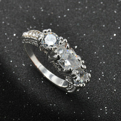 Brand Jewelry Womens Sapphire White Gold Plated Filled Wedding Ring Size 6-9