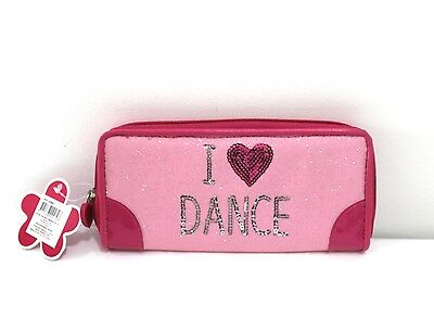 New Pink Poppy Pink Sparkle Childrens Girls I Heart Dance Wallet Purse Jho-308A1