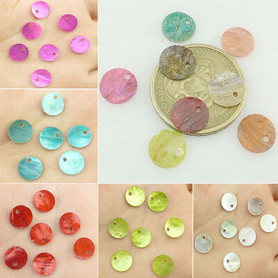 50PCS 10mm Diameter Round Natural Sea Beach shell Pendant Jewelry Findings
