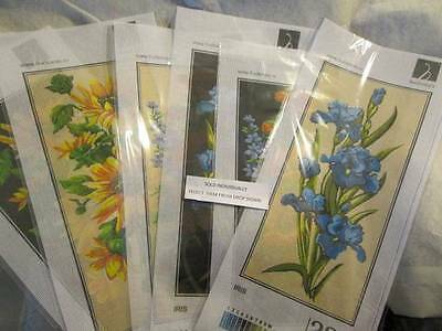 Hudemas Flowers Black OR Beige Background Needlepoint Canvas Your Choice-18x40 c