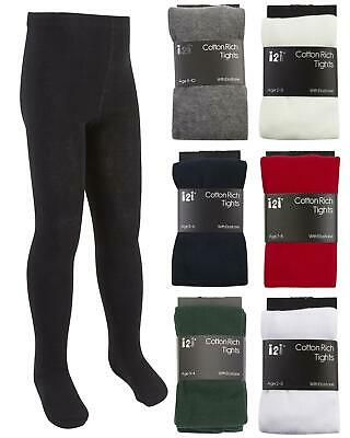 2 Pairs of Girls I2I Cotton Rich Knitted School Tights Ages 2-12 Various Colours