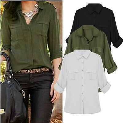 Plus Size 8-22 Womens Long Sleeve Chiffon Tops Summer Casual T Shirt Blouse Tees