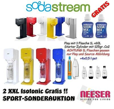 Wassersprudler SODASTREAM PLAY TOP SET 5 Flaschen 1 Zylinder 2x ISOTONIC GRATIS