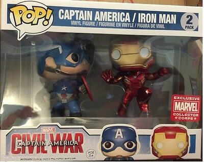 Funko Pop CIVIL WARS CAPTAIN AMERICA TWIN PACK COLLECTOR CORPS EXCLUSIVE