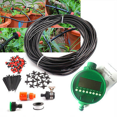 25m Drip Manual/Automatic Irrigation System Watering Garden Distribution Tubings