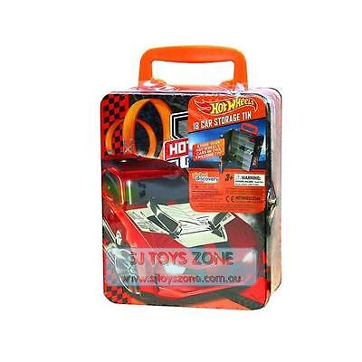 Hot Wheels 18 Cars Storage Tin Red Boys Toy Box