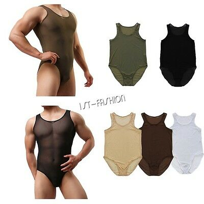 Sexy Men's One Piece Mesh Bodysuit Leotard Wrestling Singlet Jumpsuit Underwears