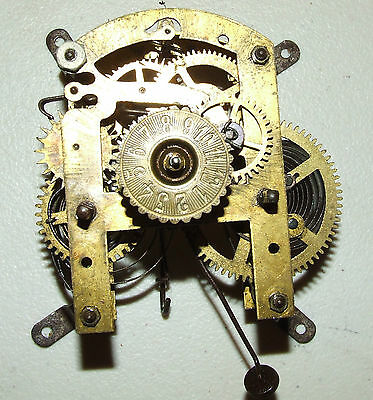 Antique Victorian German Brass Mechanical 30 Hour Clock Movement Germany