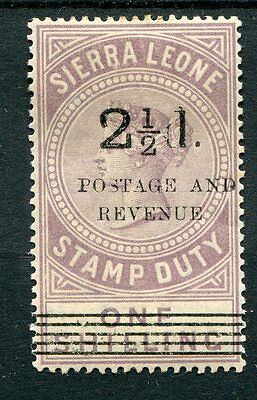 Sierra Leone QV 1897 2.5d on 1s dull lilac SG63 mounted mint