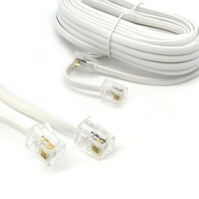 10m Meter RJ11 To RJ11 Cable 4Pin ADSL BT Phone Router Internet Modem Lead WHITE