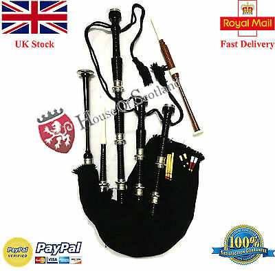 Great Highland Bagpipes Black Rosewood Silver Amounts/Scottish Bagpipes + Reeds