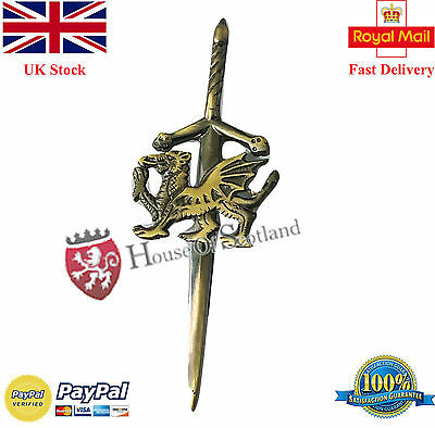 "Celtic Welsh Dragon Kilt Pin Antique Finish 4""/Scottish Sword Kilt Pins Antique"