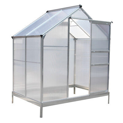 Charles Bentley 6Ft X 4Ft Small Polycarbonate Aluminium Frame Greenhouse -Silver