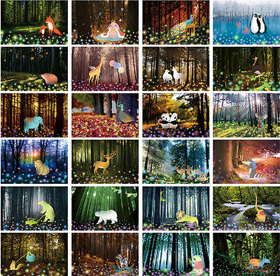 LOT 30PCS Glow in Dark Postcard Enchanted Forests Animals Bulk Set #102
