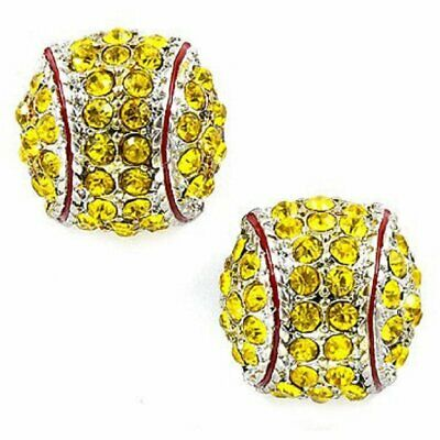 Softball Earrings Stud Crystal Rhinestone Silver Bling Yellow Fastpitch Earring