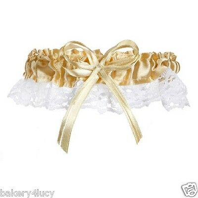 New Satin & Lace Gold Ribbon & Bow Bride's Wedding Bridal Garter Toss