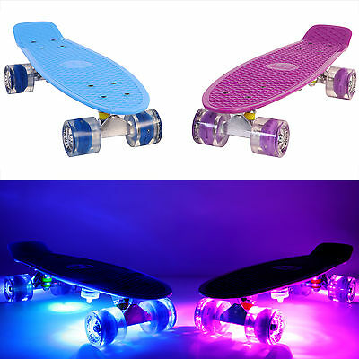 MAKANIH® Kinder Skateboard LED mini cruiser penny board mit Leuchtrollen