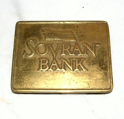 Vintage Virginia Metal Crafters Sovran Bank Solid Brass Trivet Tray USED