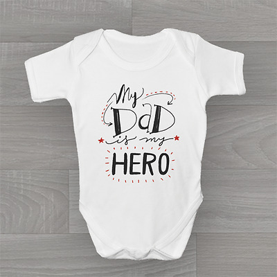 My Dad Is My Hero! Happy Fathers Father's Day, Baby Grow Body Suit Vest Onesie