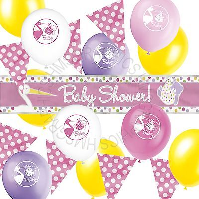 Girls Baby Shower Party Decorations,Banner, Balloons,Pink Spotty Bunting,Pack