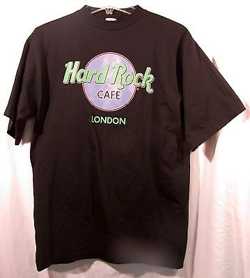 Hard Rock Cafe London Black T-Shirt Size Adult Medium Black with Green Lettering