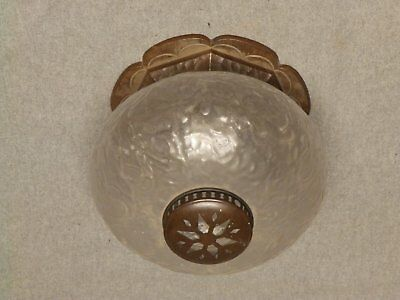 Antique Round Bronze Brass Porch Light Fixture Bubble Glass Globe Old Vtg 596-16