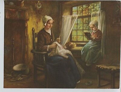 Vintage 1940's-50's Print Dutch Mother Knitting Girl Reading by the Window