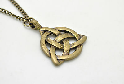 Fashion Celtic Triquetra Trinity Bronze Plated Knot Pendant Long Chain Necklace