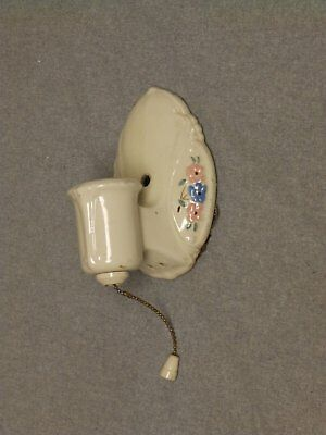 Vtg Ceramic Ivory Porcelain Ceiling Sconce Pink Blue Floral Light Fixture 606-16