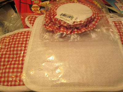 Red Gingham Oven Mitt/Pot Holder & 4 Jar Covers To Cross Stitch