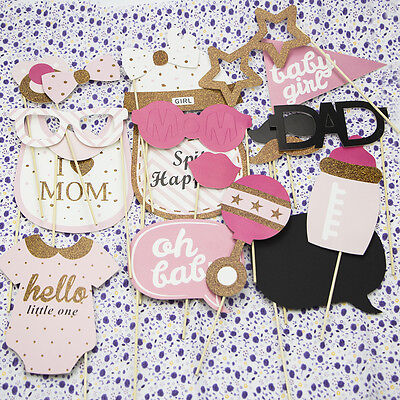20pcs Baby Shower Photo Booth Props Little Lady Girl New Born Party Decoration