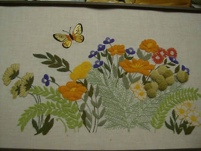 Butterfly/Flowers/Ferns FINISHED Crewel Embroidery Picture 23x14 Inches