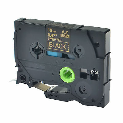 1PK TZe334 TZ334 Gold On Black Label Tape For Brother P-Touch PT2400 PT2410 12mm