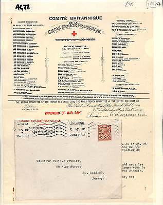 AG73 1918 GB London Red Cross French Committee/Channel Is Jersey Contents