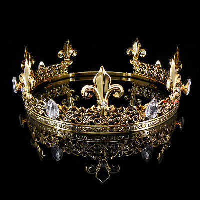 Men's Imperial Medieval Fleur De Lis Gold King Crown 19cm-22cm Adjustable 6cm Hi