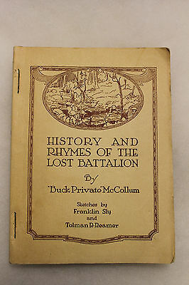 "Original 1929 Printed Book ""History and Rhymes of the Lost Battalion"" U.S. WW1"