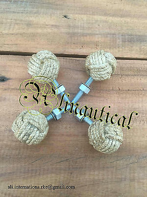 Monkey Fist Jute Rope Shelves Drawer Knobs-Nautical Gift-Lot Of 10