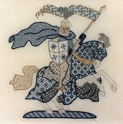 Blue Knight Blackwork CHART-280x294 Stitches, Laura J Perin Design