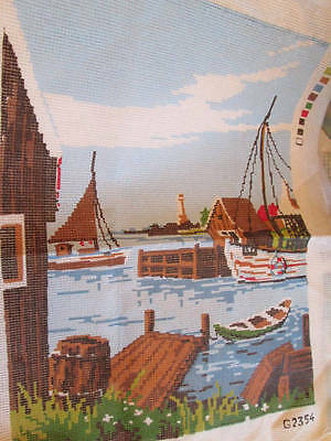 Harbour Scene With Boats Needlepoint Canvas #G2354 -11.5x15.5 Inches