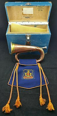 Cased Christchurch Company Boys Brigade Bugle Marked London Made, Pendant Flag