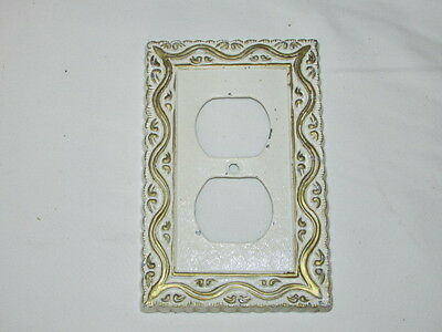 Vintage Heavy Metal White & Gold Fancy Double Plug In Switch Plate VFC