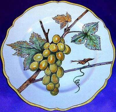 Amazing ca.1880 Quimper Porquier-Beau Botanical Grape Plate