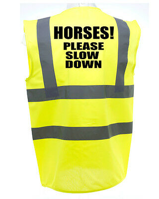 Please Slow Adult Horse Riding Hi-Vis Safety Vest Equestrian. High Viz Waistcoat