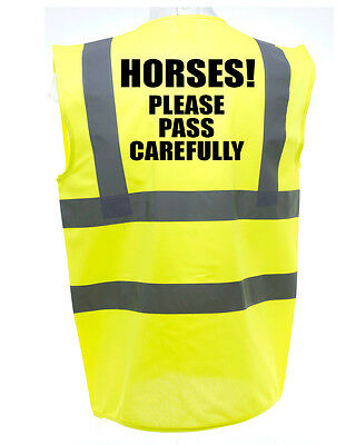 Please Pass Adult Horse Riding Hi-Vis Safety Vest Equestrian. High Viz Waistcoat