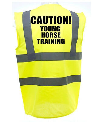 Caution young  HORSE RIDING HI-VIS SAFETY VEST EQUESTRIAN. HIGH VIZ WAISTCOAT